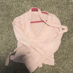 Jcrew pink wrap sweater
